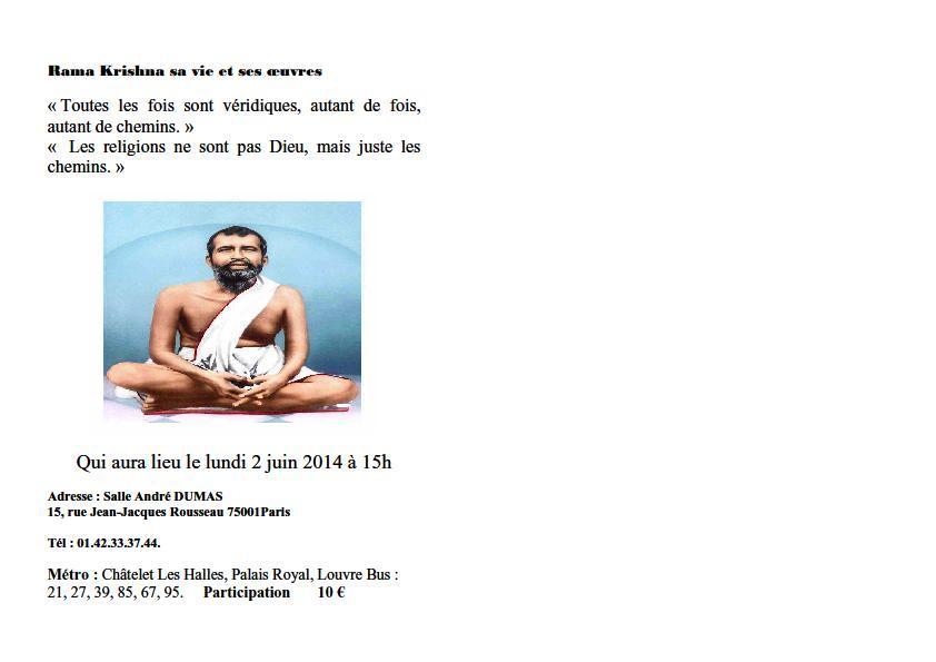 Annonce sur Ramakrishna  sa vie et ses ouevres