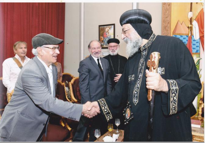Avec le pope d'Egypte